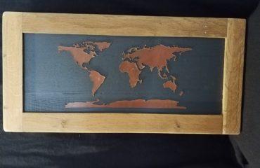 carte monde cuir
